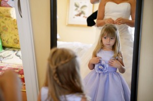 flower girl in mirror